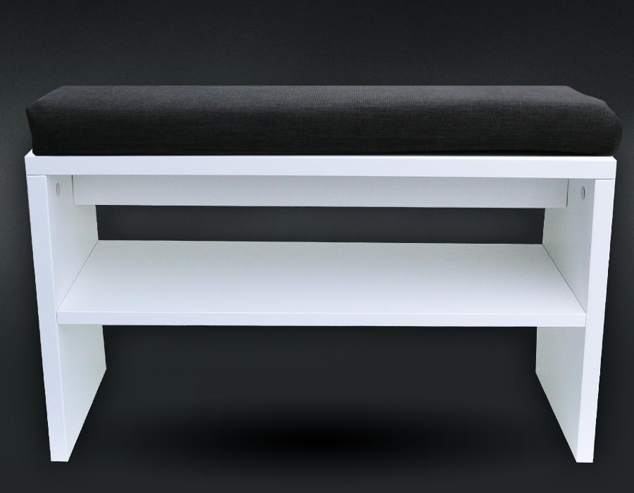 Botník sedací široký s čalouněným sedákem bílý