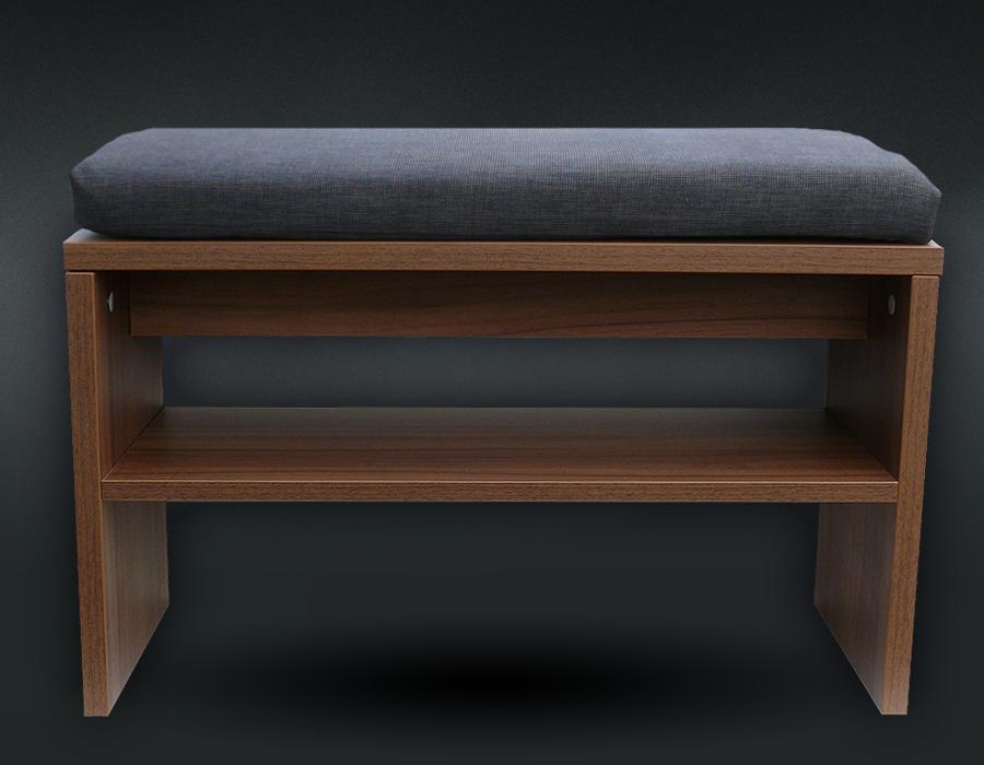 Botník sedací široký s čalouněným sedákem ořech