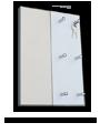 Věšák na klíče na výšku + zrcadlo, Bílý dezén