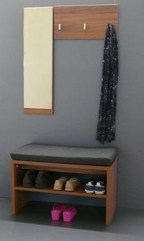 Set : Zrcadlo + věšák na kabáty + sedací botník