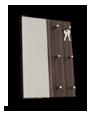 Věšák na klíče na výšku + zrcadlo, luxusní MAKASSAR dezén
