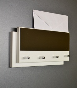 Věšák na klíče bílý DOUBLE PLATE + zrcadlo