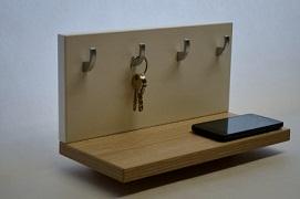 Polička s věšákem na klíče háček dub barolíno + bílá