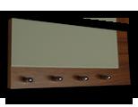 Tmavě hnědý věšák na klíče ořech s šedým sklem /Key hanger/ Schlusselbretter/