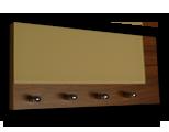 Tmavě hnědý ořech věšák na klíče s béžovým sklem /Key hanger/ Schlusselbretter/