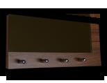 Tmavě hnědý věšák na klíče ořech s částečným zrcadlem /Key hanger/ Schlusselbretter/