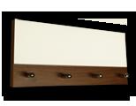Tmavě hnědý věšák na klíče s plným bílým sklem