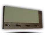 Šedý věšák na klíče s šedým částečným sklem